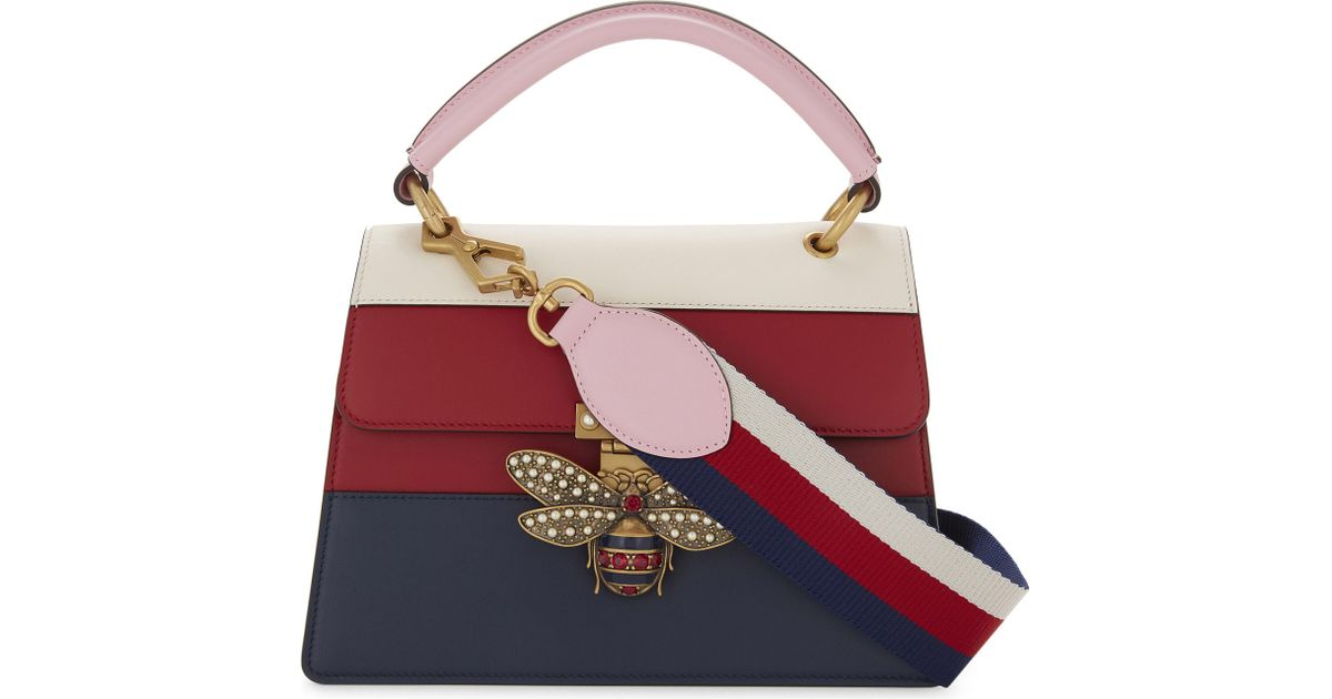 a50dfde0bb Gucci Red Bee Clasp Striped Leather Shoulder Bag