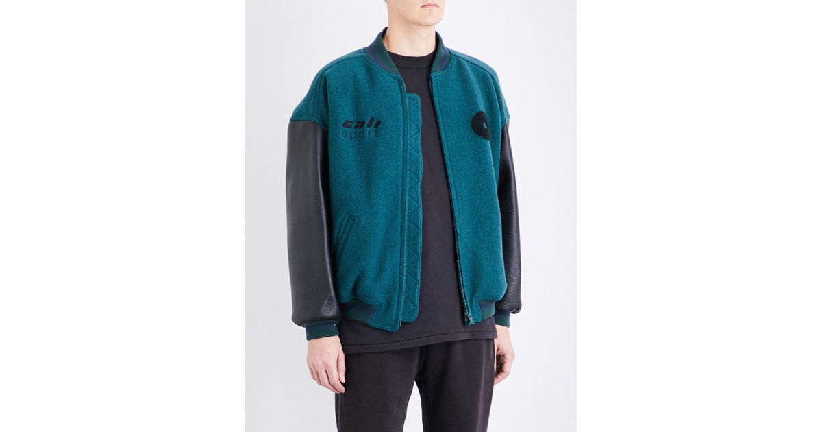 1f9d3f252 Yeezy Blue Season 5 Cali Wool And Leather Bomber Jacket for men