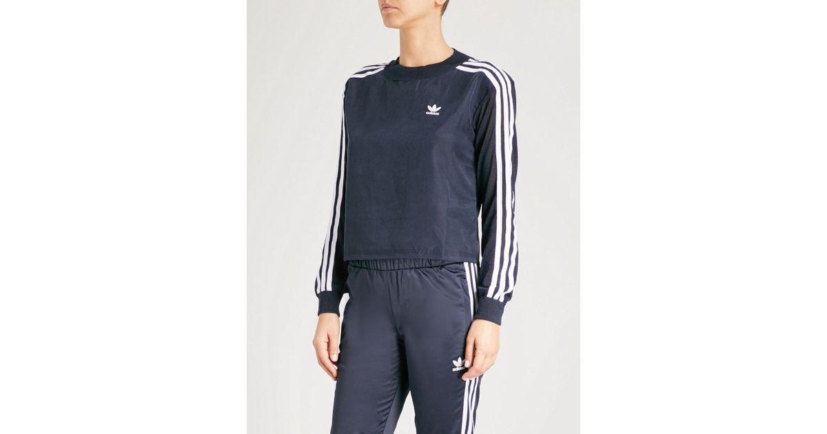 daa388d2dbaef4 Lyst - adidas Originals 3-stripes Satin And Knitted Sweatshirt in Blue