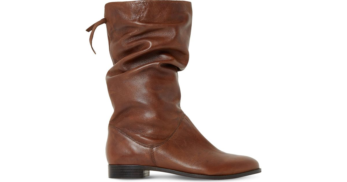 848a245f7f7 Dune Brown Rosalind Slouchy Leather Boots