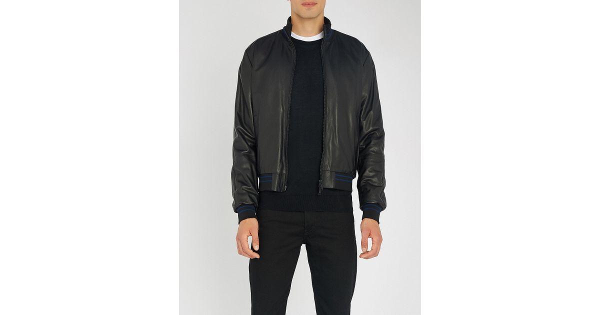 e72d5222a Emporio Armani Black Nappa-leather Bomber Jacket for men