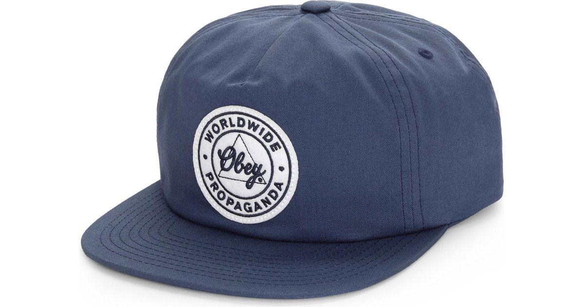 Lyst - Obey Propaganda Snapback Cap in Blue for Men 6256709664f