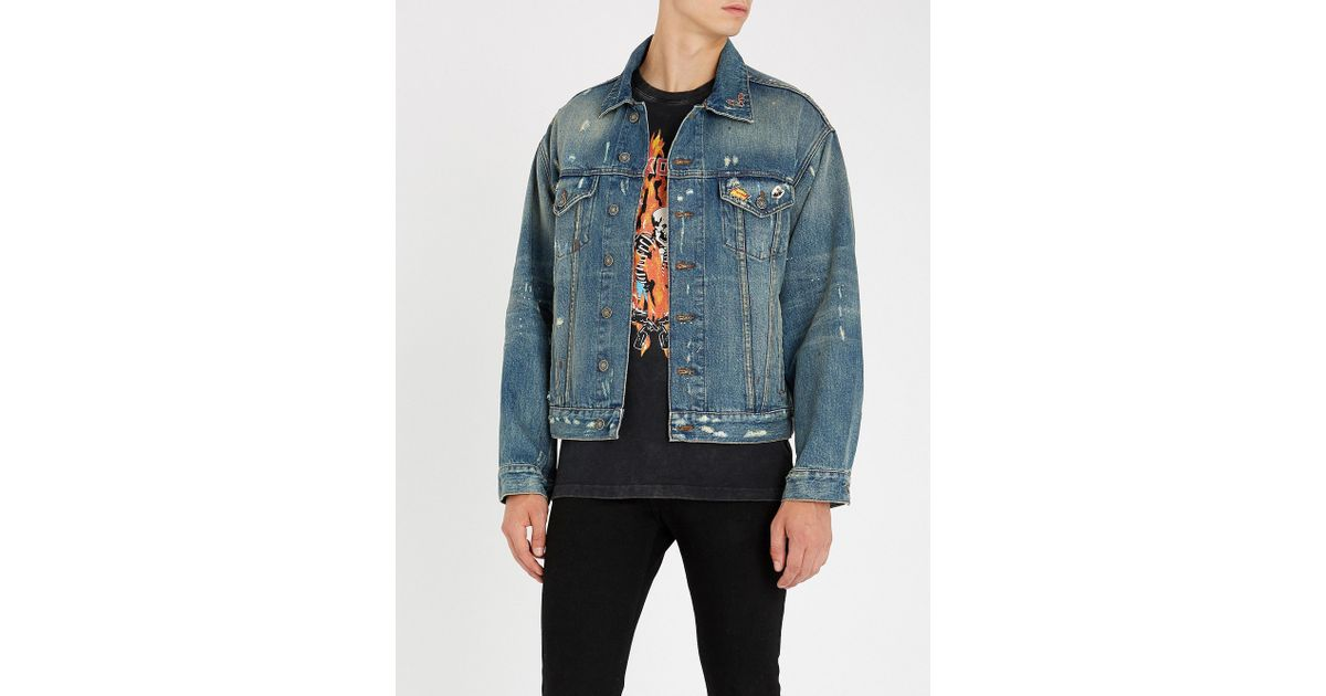 7c581c8dea The Kooples Distressed Denim Pin Jacket in Blue for Men - Lyst