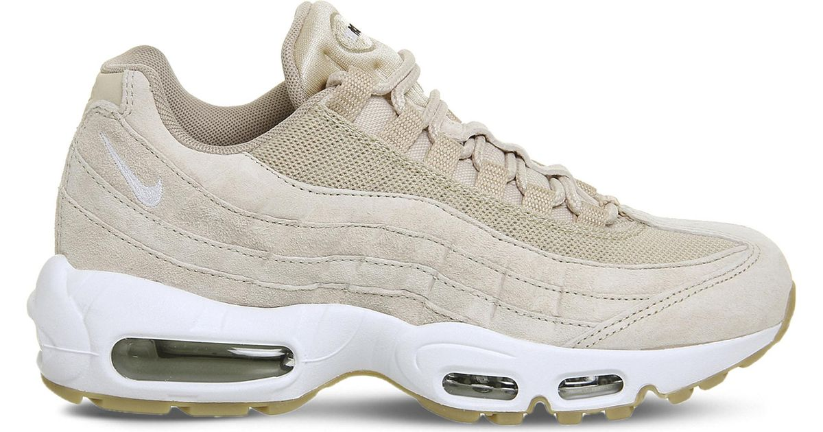 Nike White Air Max 95 Suede And Mesh Trainers
