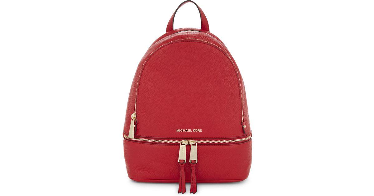317cf0691e2e Michael Michael Kors Rhea Medium Leather Backpack in Red - Lyst