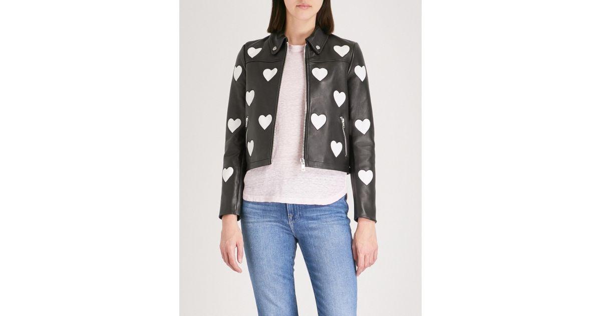 db92334f1 Maje Black Heart Detail Leather Jacket