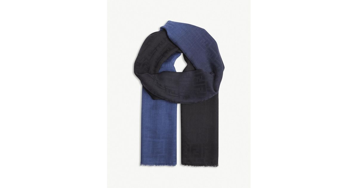 3c6c53e9744 ... get fendi dégradé logo silk blend scarf in blue lyst 5748c 3dc07
