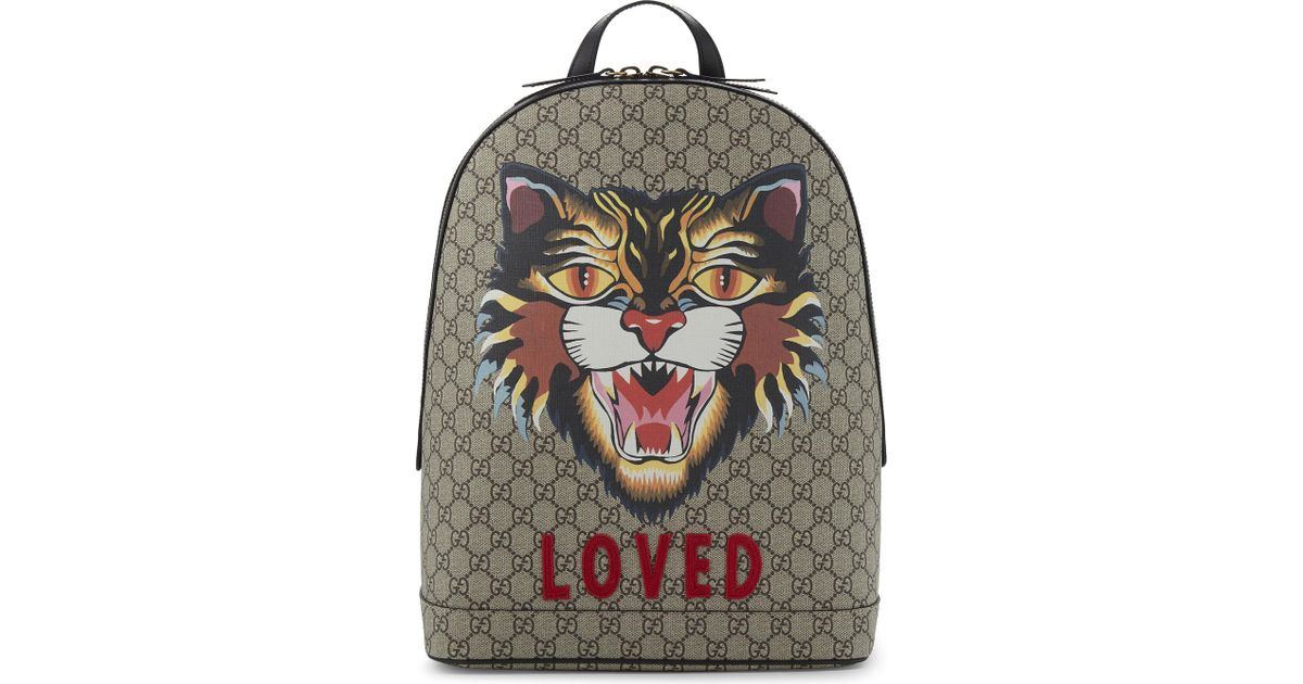 c5a565fdd26 Lyst Gucci Bestiary Gg Supreme Canvas ...
