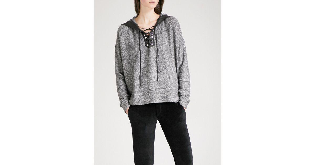 99aef9262e1 Lyst - The Kooples Leather-trim Fleece Sweatshirt in Gray
