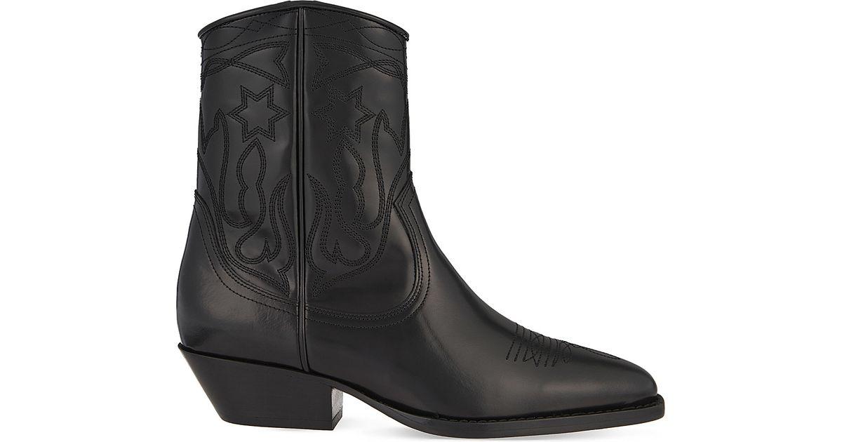 008b94c5481 Sandro Black Jim Stitch Detail Leather Ankle Boots