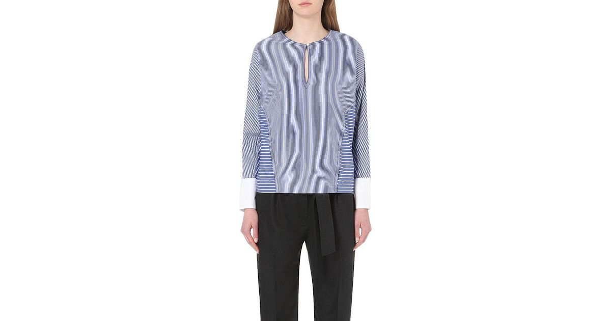 ea4a9d55ac2c02 Lyst - Sandro Striped Cotton Top in Blue
