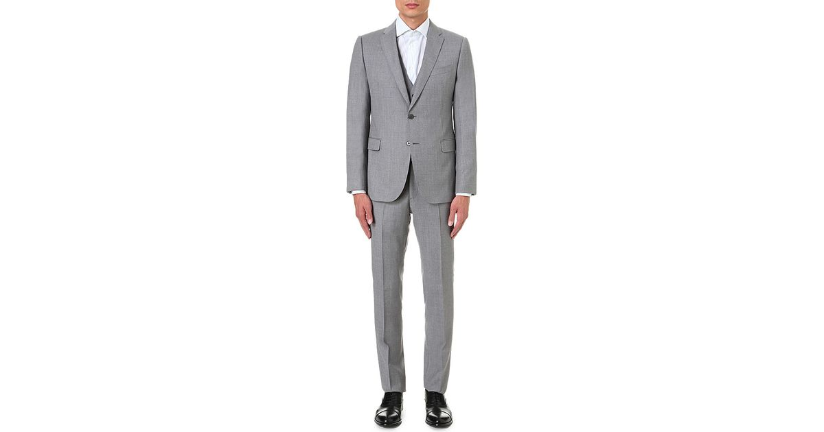 Armani modern fit three piece wool suit in gray for men lyst