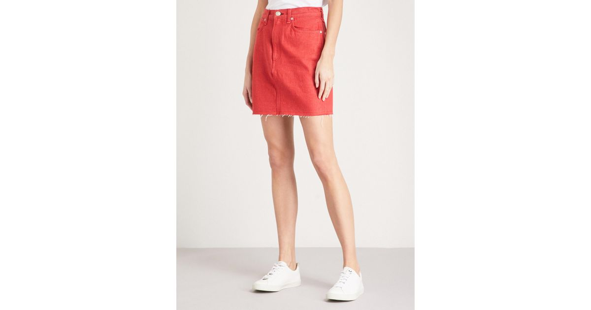 e2d19a1275 Rag & Bone Moss A-line Denim Skirt in Red - Lyst