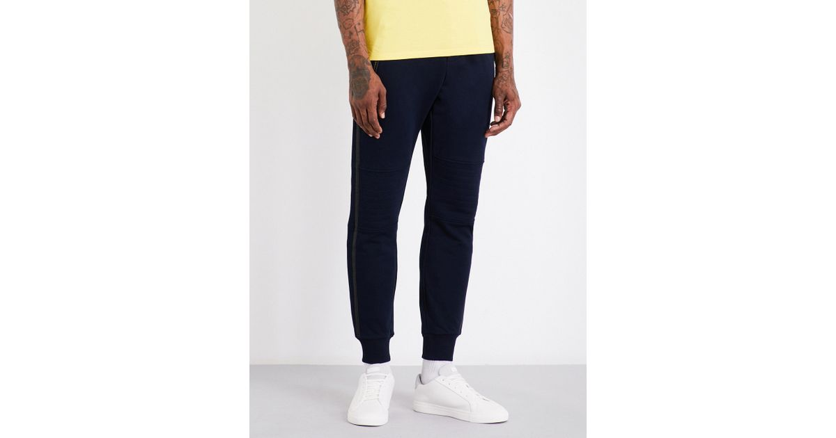 Lyst - The kooples sport Faux Leather Trimmed Cotton Jogging Trousers in  Blue for Men