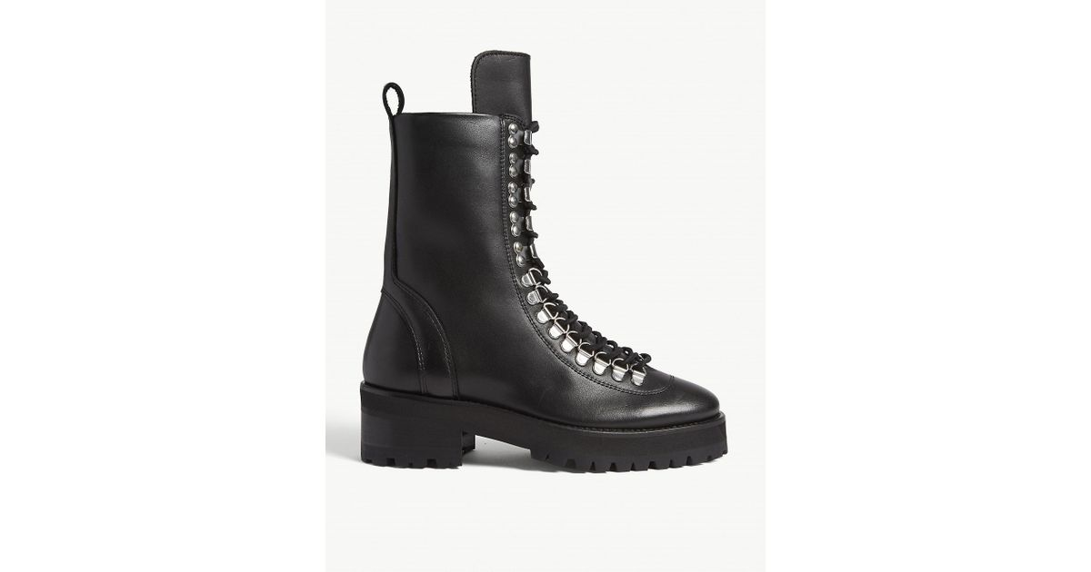 The Kooples Lace-up Leather Combat