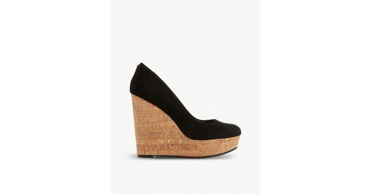 33295739acf48 Dune Alycea Suede Wedge Sandals in Black - Lyst