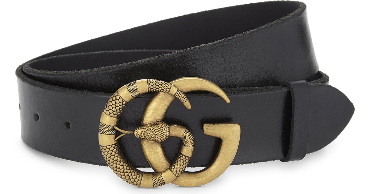 a9cd13303 Gucci Snake Gg Buckle Leather Belt in Black for Men - Lyst
