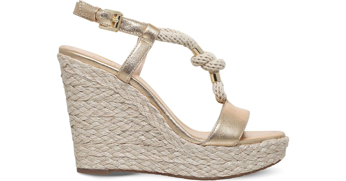 595fb4771aa MICHAEL Michael Kors Metallic Holly Wedge Leather And Rope Sandals