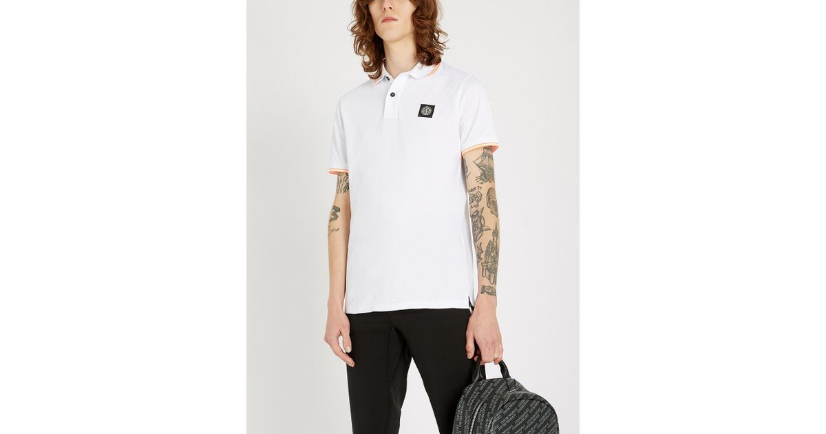 01484950 Stone Island Logo-patch Stretch-cotton Polo Shirt in White for Men - Lyst