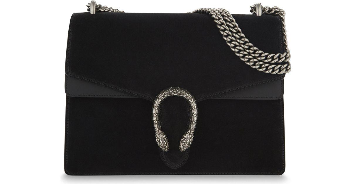 1d16c6f0d9dd75 Lyst - Gucci Dionysus Medium Suede Shoulder Bag in Black