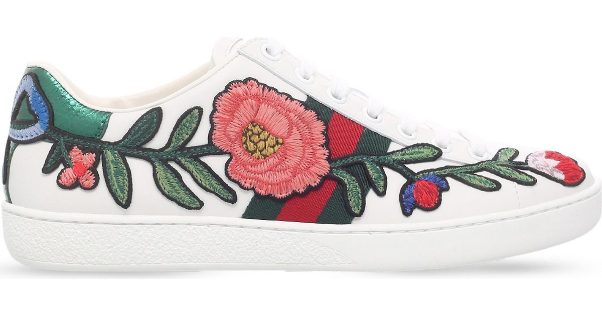 Ace Floral Embroidered Leather Trainers