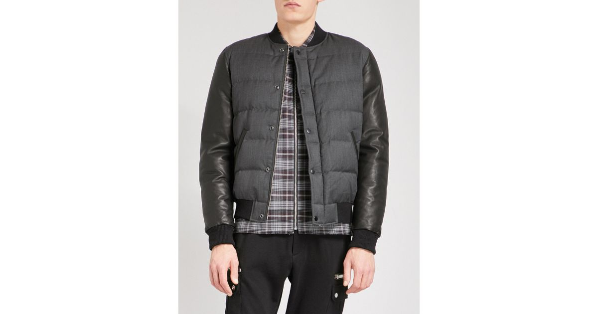 Lyst The Kooples Stand Collar Woven And Leather Quilted Bomber