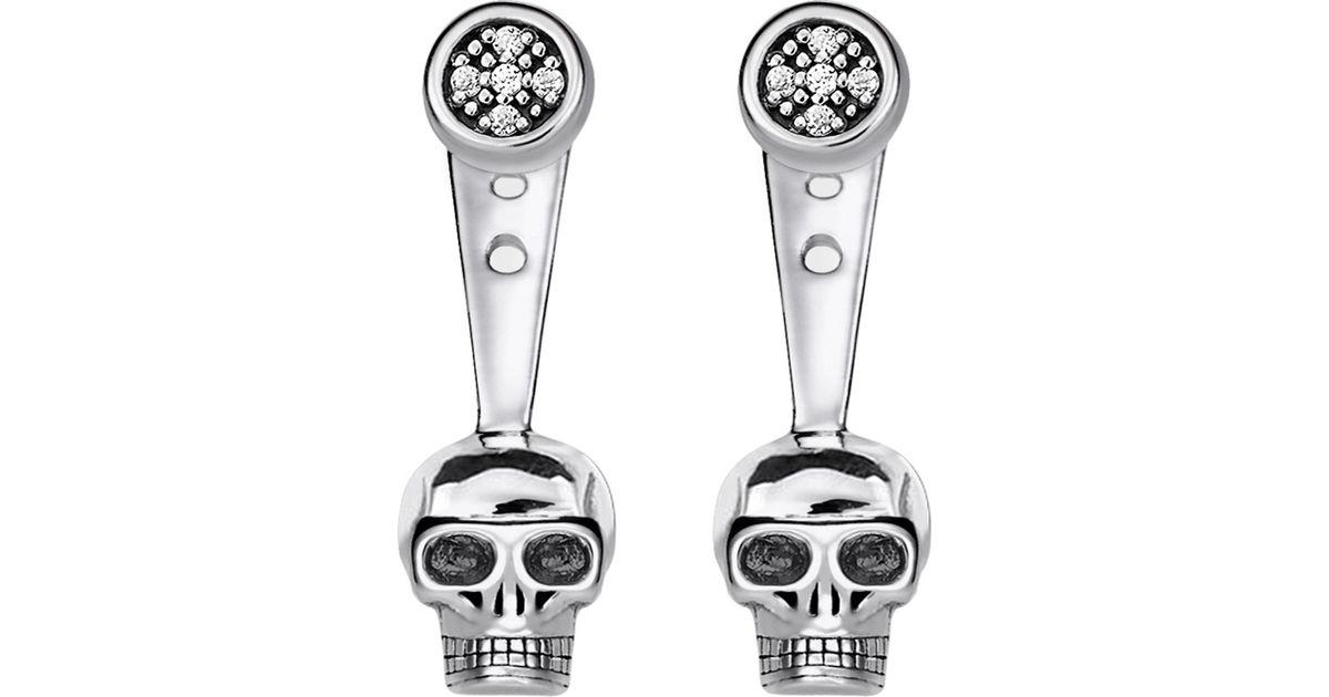 dd0168067 Thomas Sabo Rebel At Heart Skull Sterling Silver Diamond Ear Jackets in  Metallic - Lyst