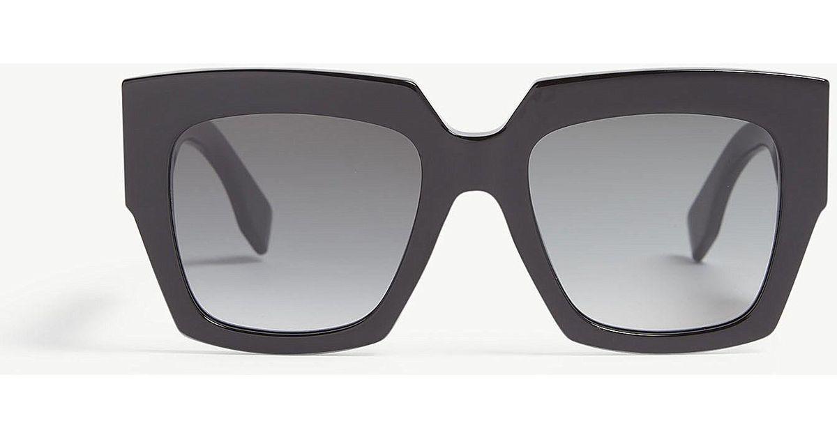 6d2fd6d87df6 Fendi Ff0263 s Square Sunglasses in Black - Lyst