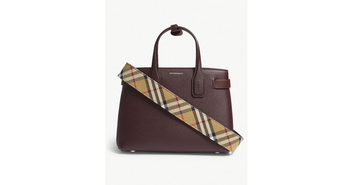 3eb1294824ad Burberry Mahogany Red Check Banner Small Grained Leather Tote Bag - Lyst