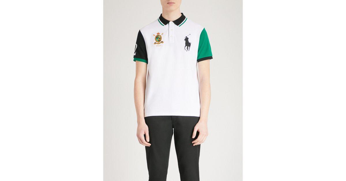 Lyst Polo Ralph Lauren Custom Logo Embroidered Cotton Mesh Shirt In White For Men