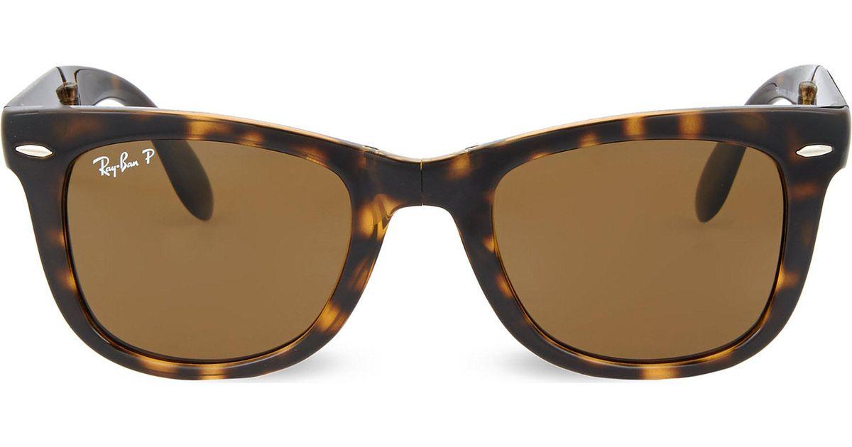 ecc13b41ec7 Lyst - Ray-Ban Light Havana Folding Tortoiseshell Wayfarer Sunglasses With  Brown Polarised Lenses Rb4105 50 in Brown
