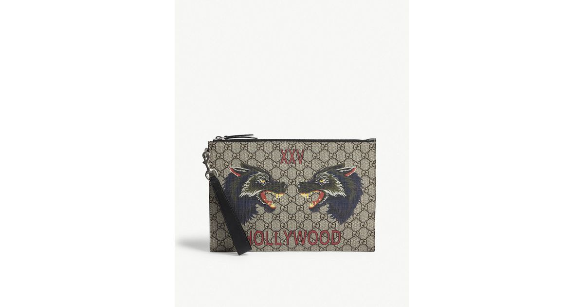 ca8ba3d554 Gucci Natural Bestiary Wolf Gg Supreme Pouch