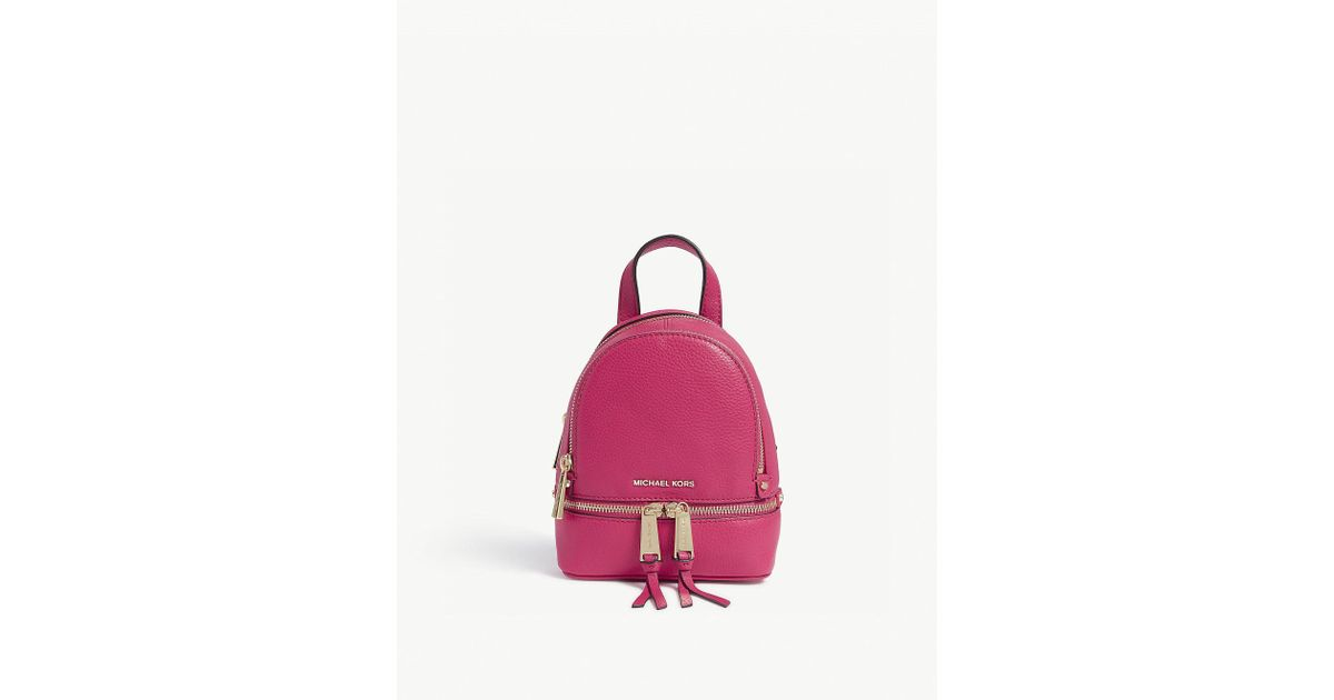 50312a085c45eb MICHAEL Michael Kors Rhea Extra-small Leather Backpack in Pink - Lyst