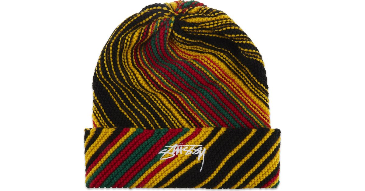 a5a5789f549 Lyst - Stussy Tribe Striped Cuff Beanie Hat for Men