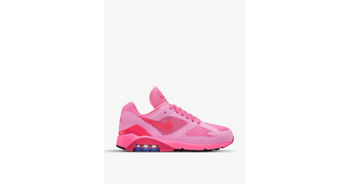 Comme des Garçons Cdg X Nike Air Max 180 Faux-leather And Mesh Trainers in  Pink for Men - Lyst a58b80f22