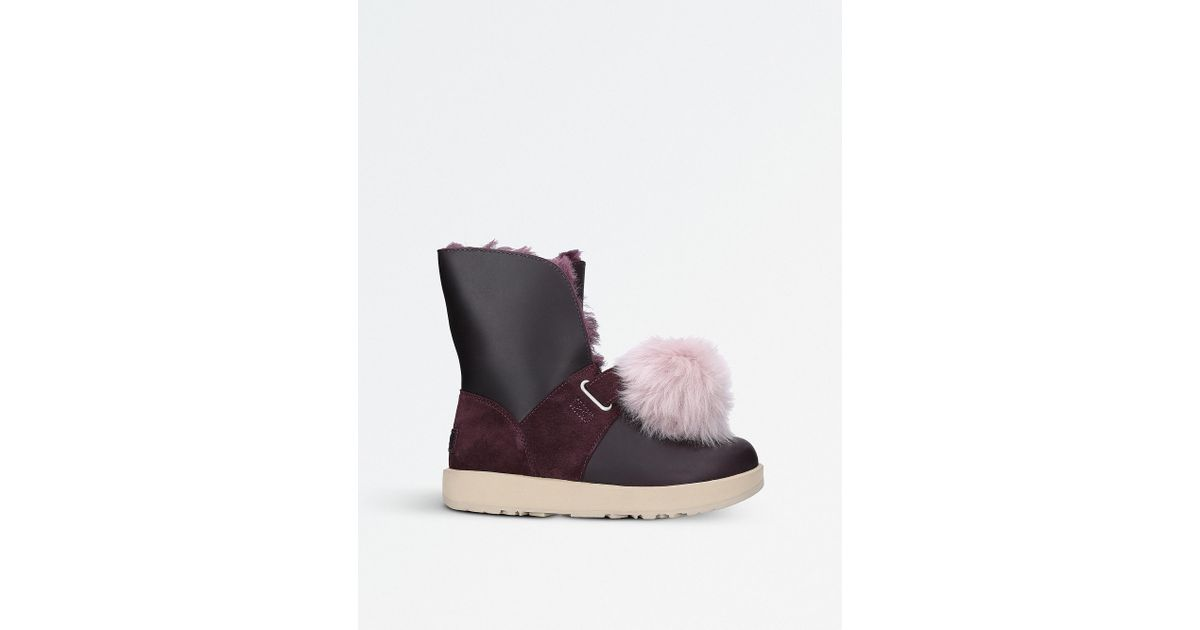 adc0b3a9e28 Ugg Multicolor Isley Waterproof Leather Pom Pom Boots
