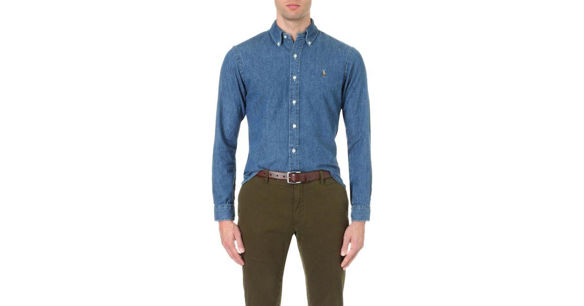 4b4f3bf0a0fe0 Lyst - Polo Ralph Lauren Slim-fit Denim Sport Shirt in Blue for Men - Save  2%