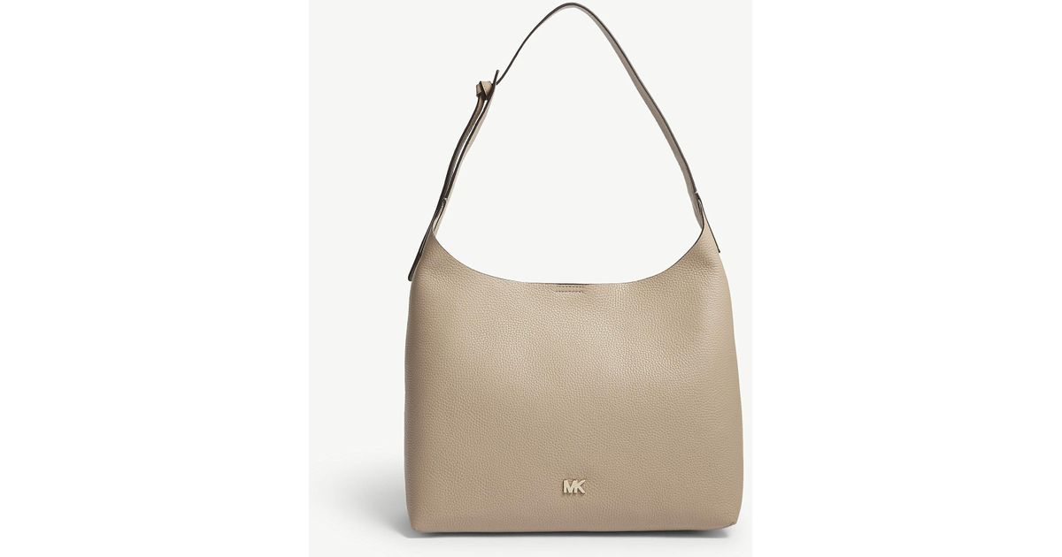 fe4fc794090f ... usa lyst michael michael kors michael kors truffle beige junie leather hobo  bag in brown a37fb