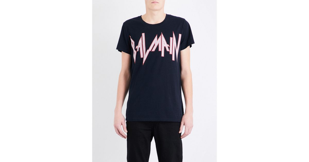 5cb245e3fe92 Lyst - Balmain Rock Logo-print Cotton-jersey T-shirt in Blue for Men
