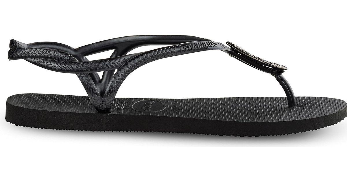 354a4391b Havaianas Luna Special Swarovski Crystal-embellished Flip-flops in Black -  Lyst