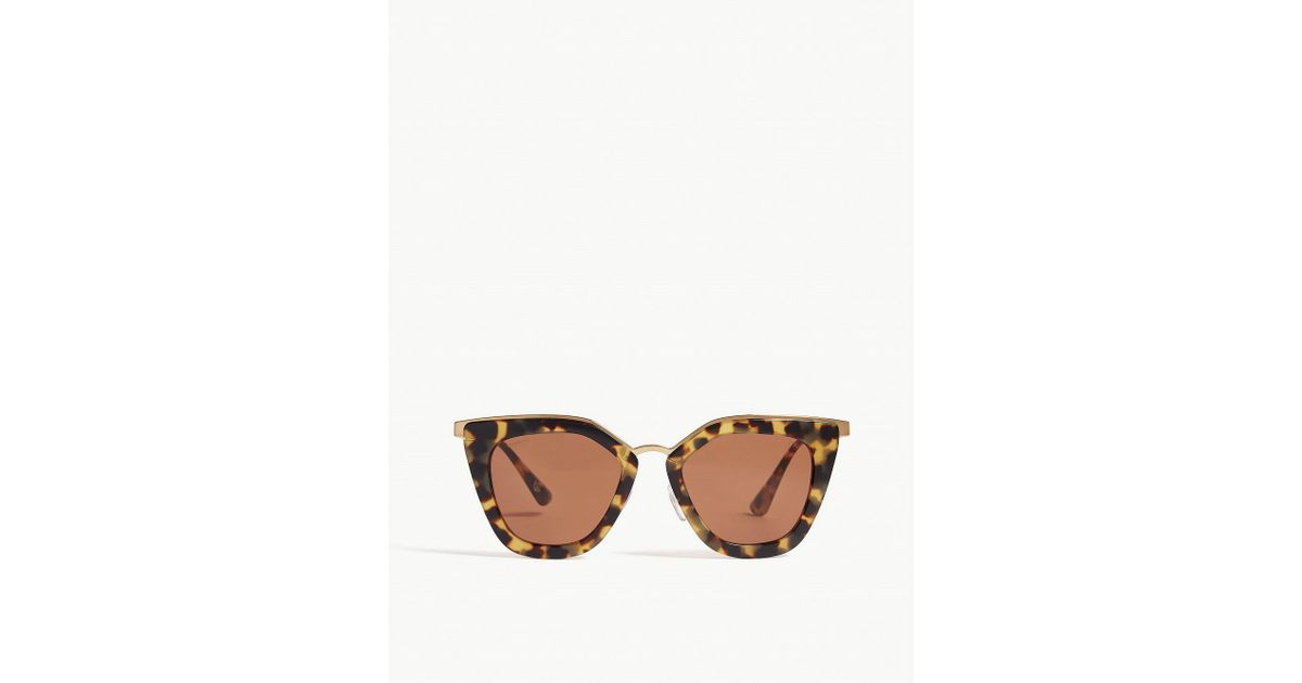 2d4e8527e3c Lyst - Prada Pr53s Cat-eye-frame Sunglasses in Brown