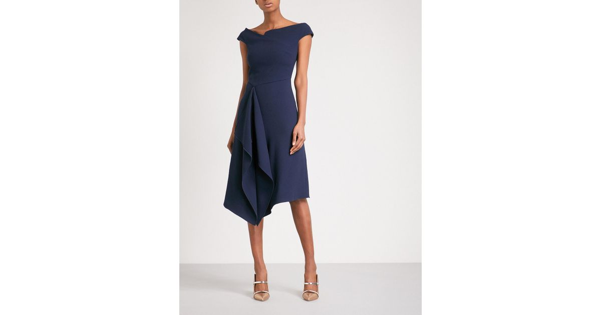 Roland Mouret Barwick Fit And Flare Wool Crepe Dress In