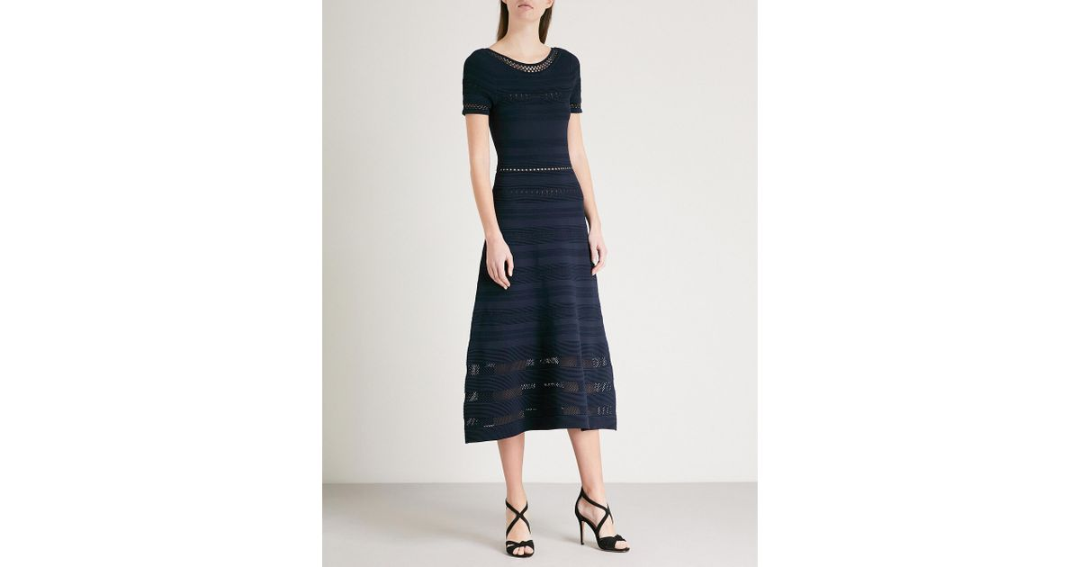 5ae9a2afd51 Lyst - Sandro Mesh-panelled Stretch-knit Midi Dress in Blue