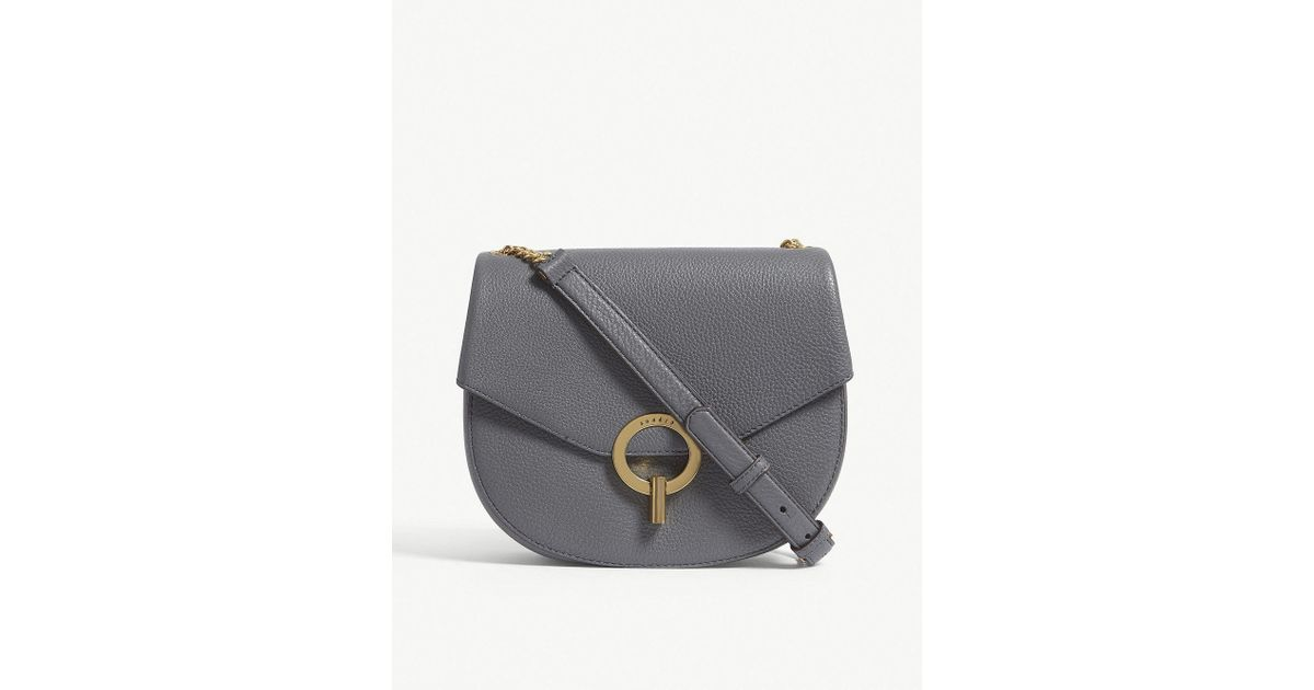 1728379d6fdc Sandro Pepita Grained Leather Shoulder Bag in Gray - Lyst