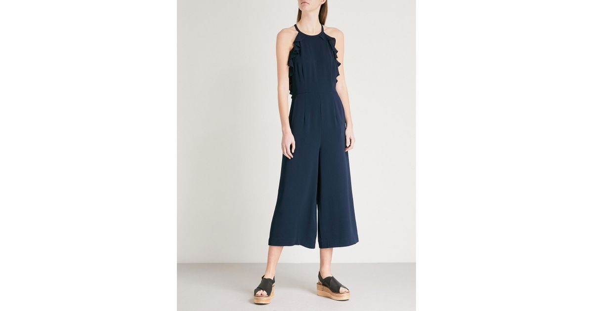 1ea0bc9c7a2 Lyst - Whistles Sonia Frill-detail Crepe Jumpsuit in Blue