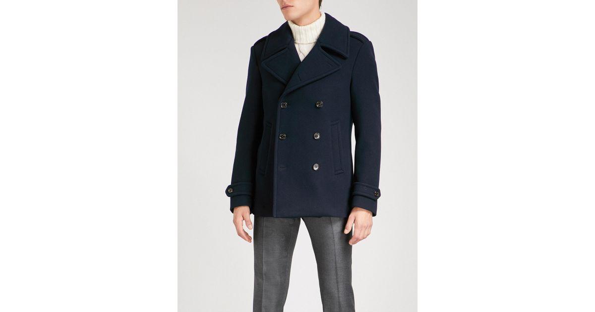 cheaper sale harmonious colors best price Ralph Lauren Purple Label Blue Double-breasted Wool Peacoat for men