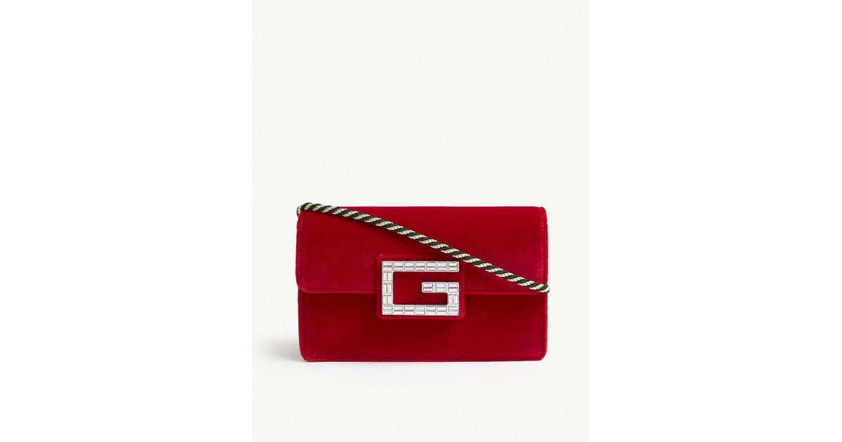 a998c982c929 Gucci Broadway Crystal G Velvet Cross Body Bag in Red - Save 7% - Lyst