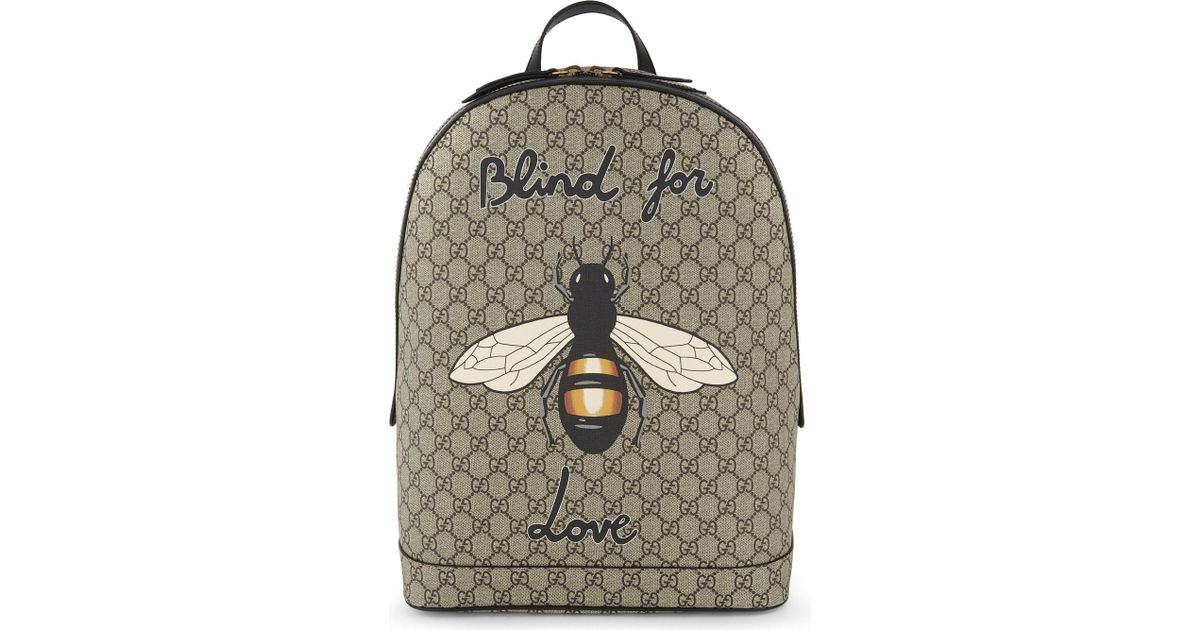 Lyst - Gucci Bee Print Gg Supreme Backpack in Natural f43b9b5812df2