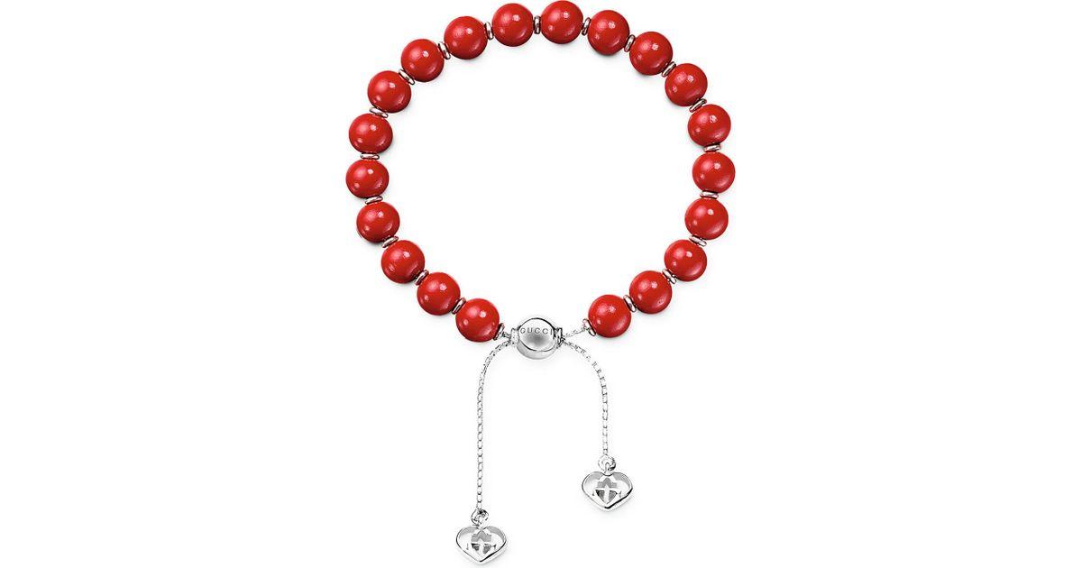 08cac75ca Lyst - Gucci Boule Britt San Valentino Bead Bracelet in Red