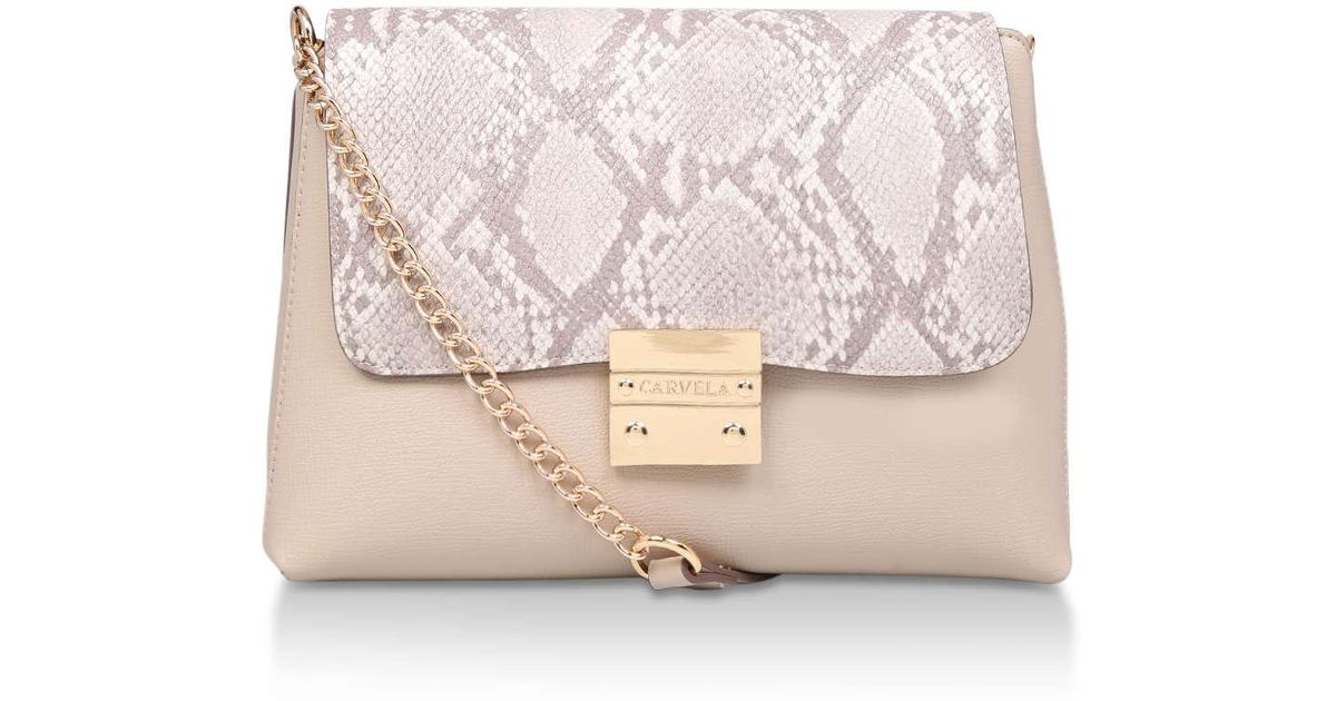 9b0693562f8 Carvela Kurt Geiger Blink Chain Handle Bag in Natural - Lyst